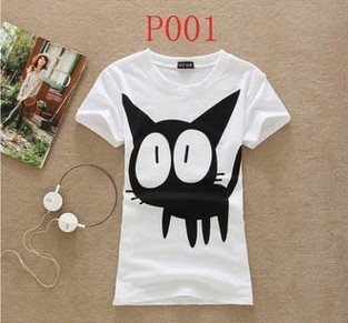 [Magic] 2014 hot sale ! Lovely cats Fashion Good Quality Cotton T Shirt Women Tops Short-sleeve t shirts white and black free(China (Mainland))