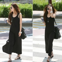 2014 New Spring Ankle-Length Women's Dress,O-Neck Sleeveless Solid Bohemian Lady's Dress QQ012
