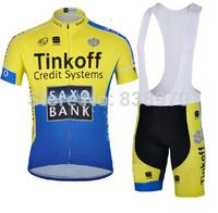 2014 Tinkoff saxo bank Cycling Jersey short sleeve and bicicleta bib shorts/ ropa ciclismo clothing men  NX45!