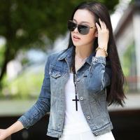 FS-2055 Spring Summer 2015 Women's Denim Jackets Korea Style  Jeans Coat Wholesale Cowboy Jackets For Women S M L XL