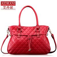 2014 women's cowhide handbag trend women's handbag fashion plaid small women's brand handbag