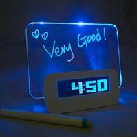Free Shipping Blue LED Fluorescent Message Board Digital Alarm Clock Hub Calendar Night light 95258