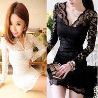 New Autumn winter Women Sexy V-neck low-cut Long Sleeve Evening Party Lace Mini Bag Hip Dress Black/White