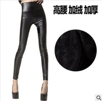 Leather pants high elastic waist thickened European style single  significant lanky waist pantyhose Leggings