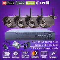 1080P 2.0Megapixel 8CH NVR SONY Sensor WIFI Wireless Outdoor 48IR Security CCTV IP Camera System 2TB HDD