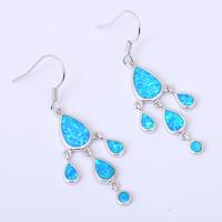 Elegant design Wholesale & Retail Blue Fire Opal 925 Silver Drop Earrings Fashionl Jewelry OE188