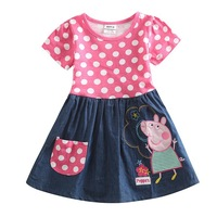 Peppa pig baby girls printed wave point cotton evening party dress for baby girls nova kids summer dress  H4725#