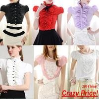 Free Shipping 2014 new fashion summer shirt women flouncing rose flowers short sleeve shrug dress shirts blouse tops S-XL