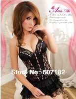 2014 New Sexy costumes Mini Babydoll Dress Underwear Sleepwear Backless Lace Lingerie Set+G-string