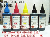 Free shipping Universal 5Color 100ML for Canon425 425 525 526ciss cartridge Premium Dye Ink,for General Canon printer all model