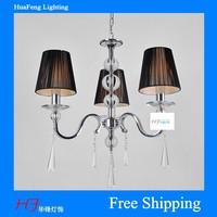 3 light metal chandelier fabric lampshade lighting  luminaire