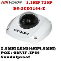 IR Night Vision Security Surveillance Hikvision IP Camera 720P HD DS-2CD7164-E Vandalproof  Outdoor CMOS POE CCTV Camera H.264