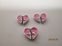 Pink Best Friends Heart Floating Locket Charm New