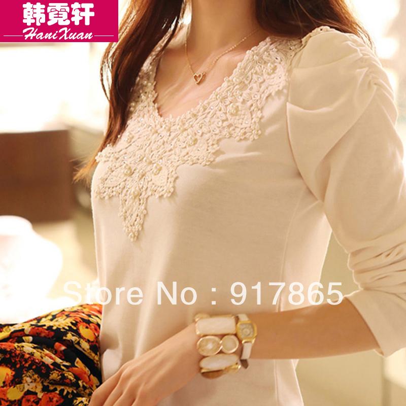 new 2014 spring women's casual dress top t-shirt female long-sleeve shirt slim plus velvet thickening plus size lace basic(China (Mainland))
