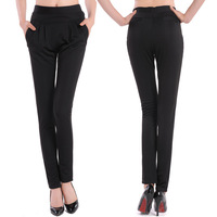 2014 New Women's clothing Spring Leisure Fashion Black Work Harem pants Slim Large Sizes Elasticity Women Feet Pants Wholesale