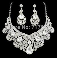 Luxury Shiny Crystal Rhinestone Water Drop Statement Wedding Bridal Jewelry Necklace Earring Set
