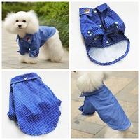 New Summer Bubble fine grid shirt Pet puppy cowboy cotton  dog clothes size XS S M L XL XXL WT78