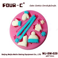 Winter seris cake molds,snowflake/mini house/glove/broom/snow boots /muffler cake decorations,fondant silicone molds