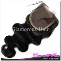 Peruvian Body Wave Hair Bleached Knots 4*4 Lace Closure Natural Color 1B 100% Virgin Hair Free Shipping
