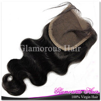 Peruvian Body Wave Hair Bleached Knots 4*4 Lace Closure Natural Color 1B 100% Virgin Hair Free Shipping