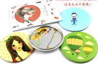 portable pocket tin mirror multi designs cute cartoon fashion Compact hand Cosmetic Make Up whcn+