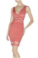 Great Quality pink V neck bandage dress sexy night club wear ladies elastic party mini dress