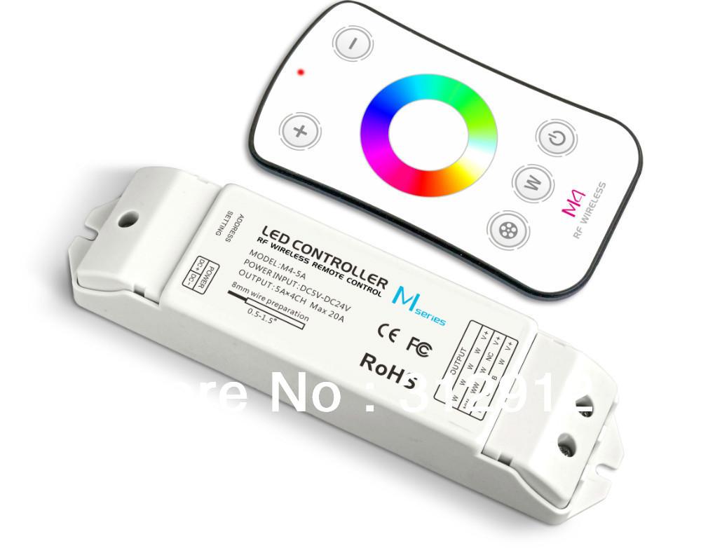 M4 remote+receiver;RGBW led controller;DC5-24V input;5A*4CH output(China (Mainland))