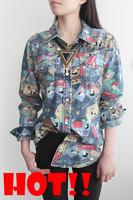 Новая весна женщин кофточка случайных мультфильм snoopy шаблон шифон длинная рубашка длинный рукав