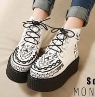 new 2014 Harajuku plus fur leather rivets lace up velvet women flat platform sneakers shoes martin boots winter Z45