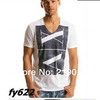 new 2014 men famous brand t shirt man letter t shirt printing v neck cotton short  t shirt   ax tee top