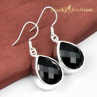 Brand New 2014 Fashion Jewelry Charm Black Onyx Crystal Drop Earrings for Women  925 Silver PlatedXmas Party Earrings