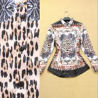 Free Shipping 2014 Runway Top Great Europe & America Brand Fashion Spring Summer Turn-Down Collar 100% Silk Blouses & Shirts