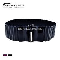 All-match elastic women's wide belt fashion overcoat genuine leather down coat cummerbund short skirt belt clip strap