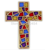 Free shipping-20mm cross metal badge with transparent colors (600pcs/lot)