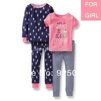 Lastest Carter's Baby Girl Cotton Pajamas 2sets Suit sleepwear Nightclothes Pyjamas, In StoreFreeShipping