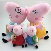 TOP SALE Anime Baby Toys Peppa Pig Toy 30CM Daddy Mummy Pig+19CM George Peppa Pig Plush Family Stuffed Doll Set