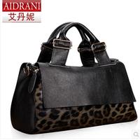 2014 women's cowhide handbag leopard print bag genuine leather women's handbag laptop messenger bag