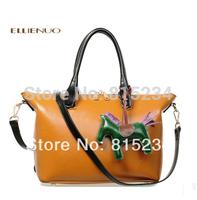 Freeshipping new 2014 fashion ol women handbag vintage color block women messenger bags cowhide women bag genuine leather bag