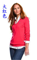 2014 women's thickening sweater casual all-match V-neck sweater