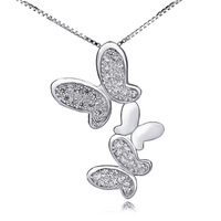 925 Sliver fashion jewelry  925 sterling silver butterfly pendant 16 inch necklace &pendant  With AAA Cubic Zircon GNX0296