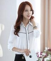 Spring Autumn Women Commuter Lapel Blouse Female Work Wear Office Shirt Slim Fit Long Sleeve Blusas Feminino