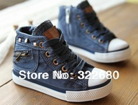 Free shipping 2014 spring models mill side zipper denim high-top canvas shoes, children shoes girls and boys shoes