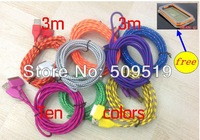 4pcs New USB Braided Charger Cable  3M 10FT weave Knit Fabric Colorful USB Data Sync For Iphone 4 4s Good quality  #44