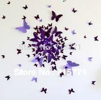 New 2014 100 pcs ebay Hotsale 3D art butterflies  wall stickers butterfly decoration DIY sticker home decor wedding decoration