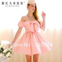 dabuwawa brand new authentic Formal dress new 2014 winter pink big bow sweep dress party dress S39YN