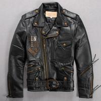 Free Shipping Men Jacket Avirex Genuine Leather Clothing Male Large Lapel Oblique Zipper Motorcycle Clothing Belt Double