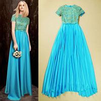 5 Color Europe and USA Brand New 2014 Fashion Gorgeous Cutout Crochet Paillette Dress Evening Dress Full Dress Long Maxi Dress