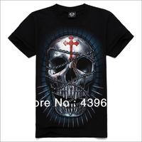 Skull metal series male short-sleeve o-neck t-shirt rock 3dt male t-shirt cross skull