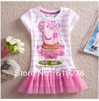 2014 New Summer Dress Lovely Pig Girl's Dress  Cotton Children Dress Free Shipping