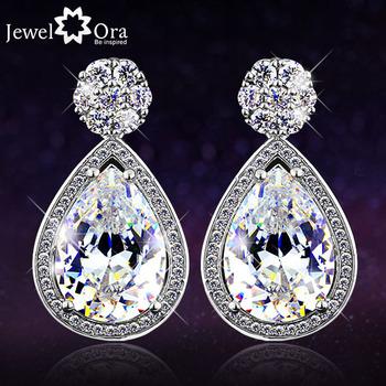 Роскошные серьги с фианитами и кристаллами. Модная бижутерия и аксессуары для женщин. Серебряные висячие серьги для невест коллекции 2014 года (EA101297)